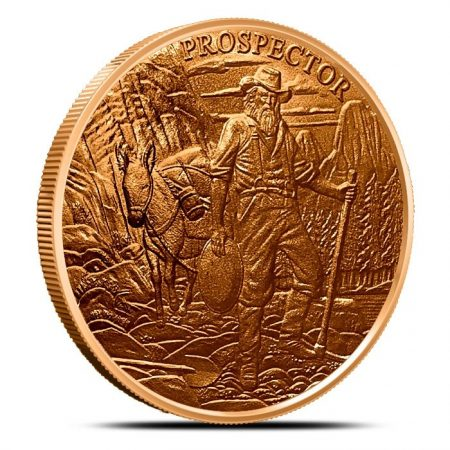 1oz .999 copper round Prospector Series Gunslinger